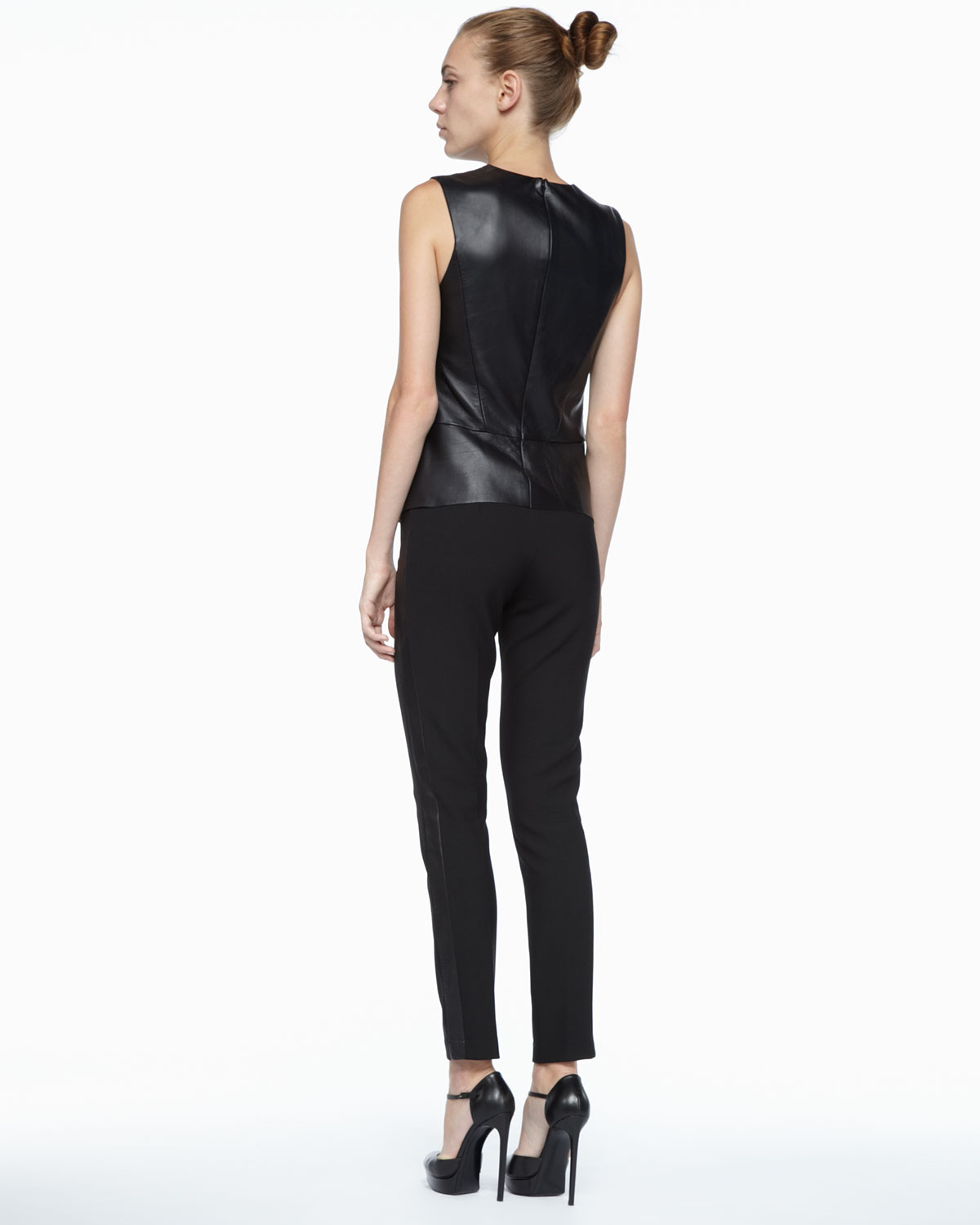 Robert Rodriguez: Robert Rodriguez Stretchleather Sleeveless Top In Black