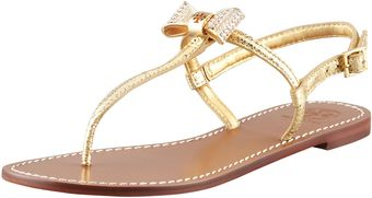 Tory Burch Womens Bryn Pavebow Thong Sandal Gold - Lyst