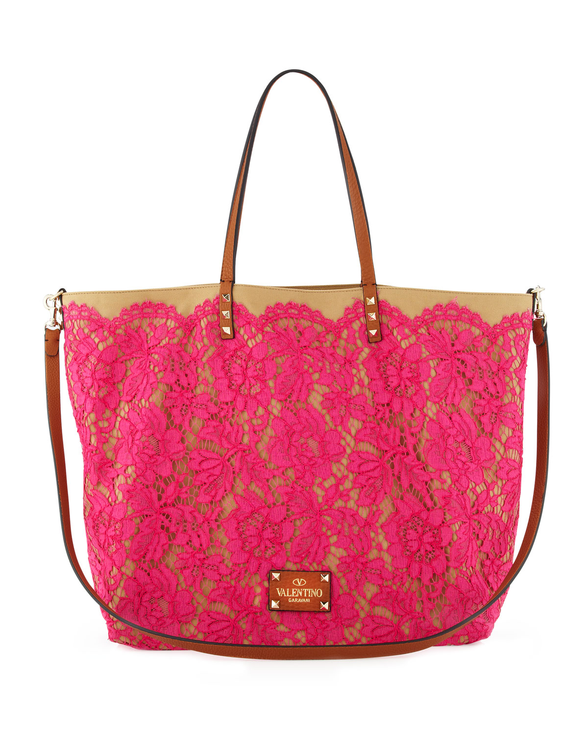 valentino glam lace tote bag in pink lyst