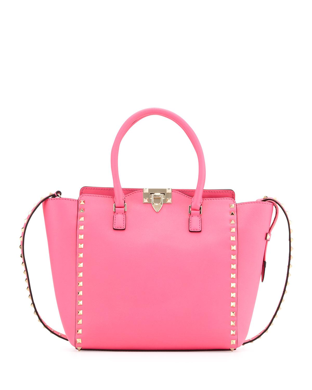 valentino rockstud medium shopper tote bag pink in