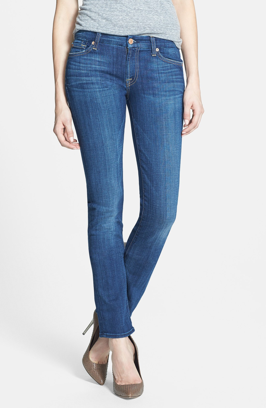 7 for all mankind Kimmie Straight Leg Jeans in Blue | Lyst