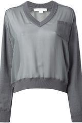 Alexander Wang Vneck Sheer Sweater - Lyst