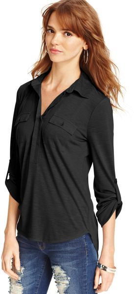 Almost Famous Long Sleeve Rolltab Highlow - Lyst