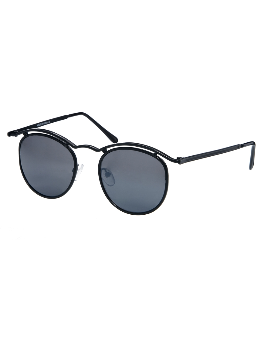 Lyst Asos Round Sunglasses With Curve Brow Bar In Black
