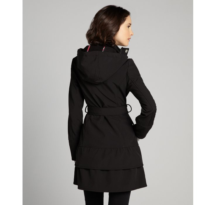 Betsey johnson Black Softshell Belted Hooded Coat in Black | Lyst