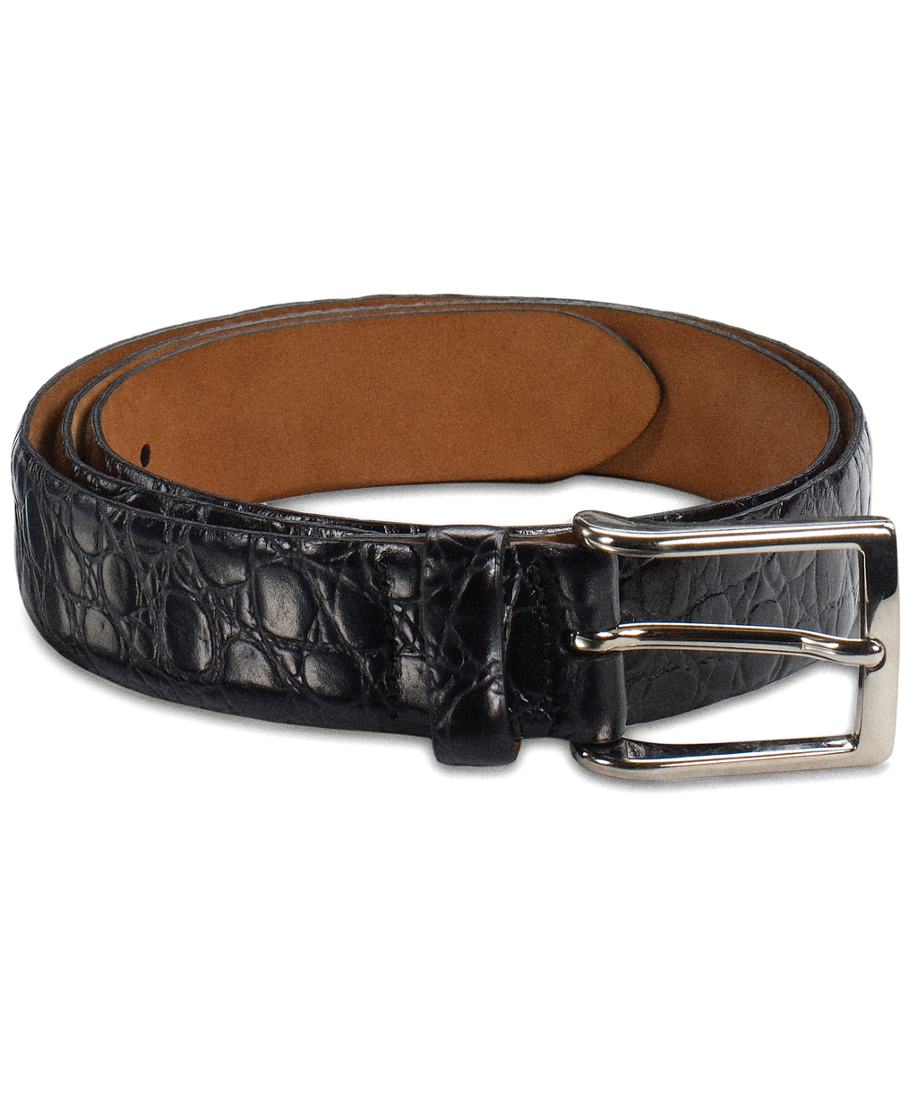 brothers alligator dress belt in black for lyst