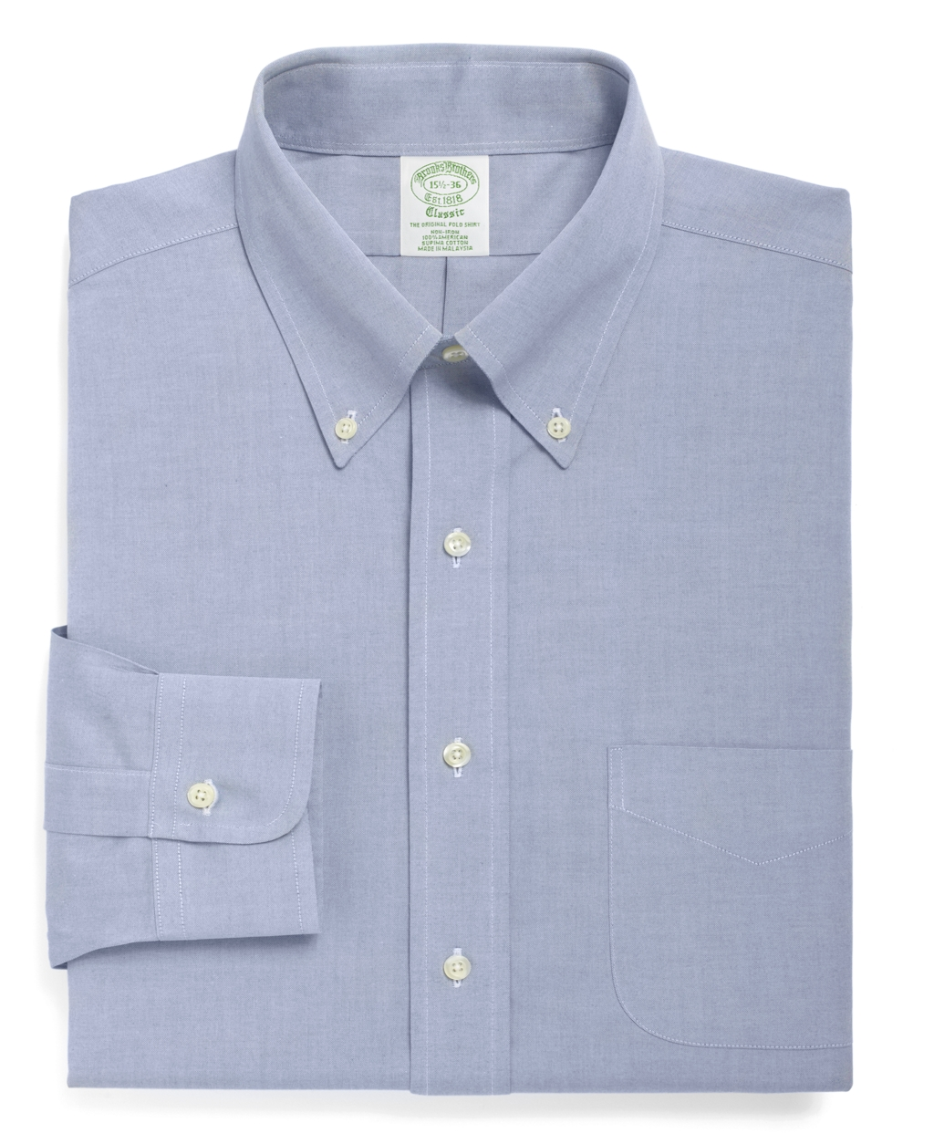Brooks brothers non iron milano fit button down collar for Brooks brothers dress shirt fit guide
