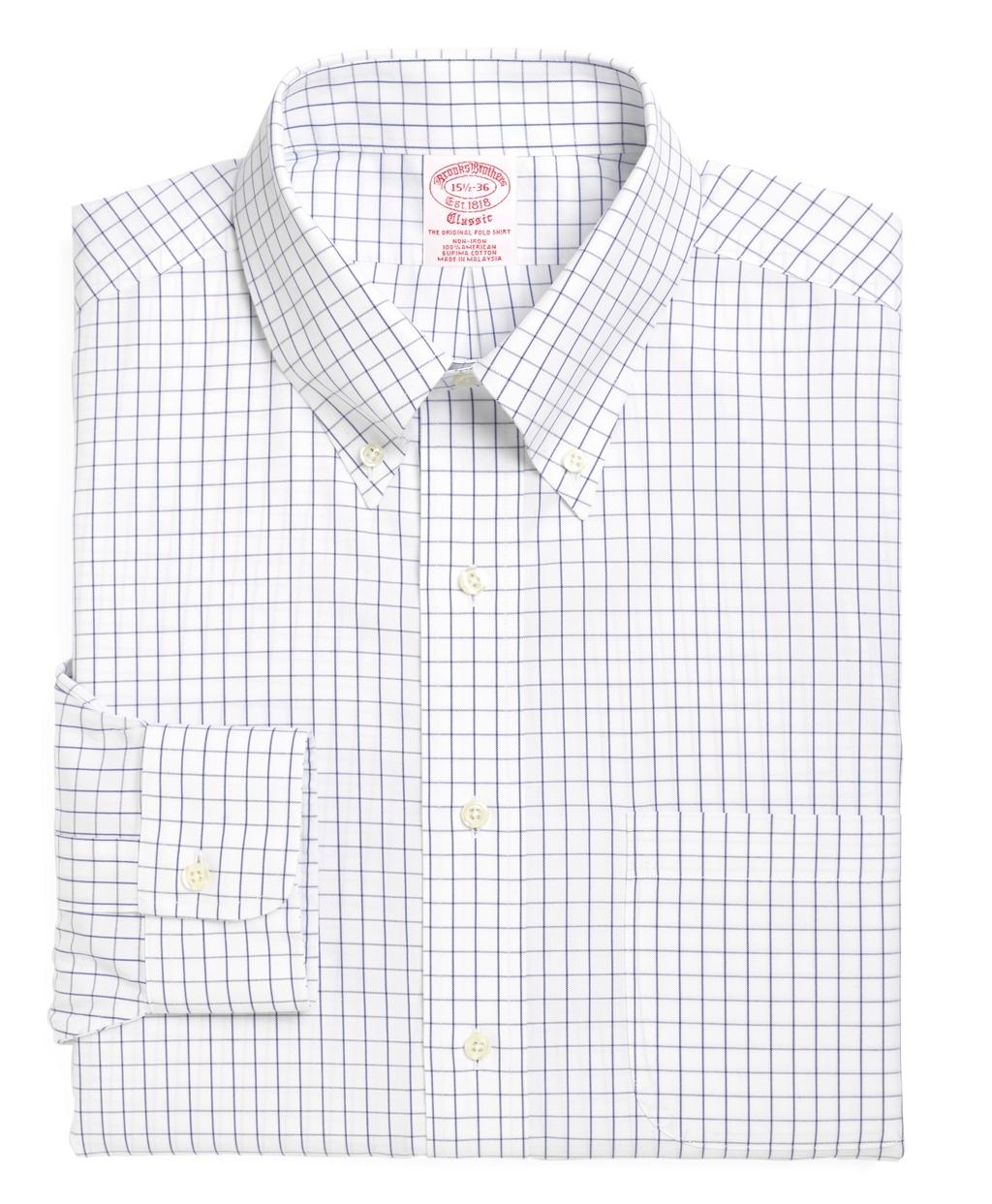 Brooks brothers non iron regent fit windowpane dress shirt for Brooks brothers non iron shirts review