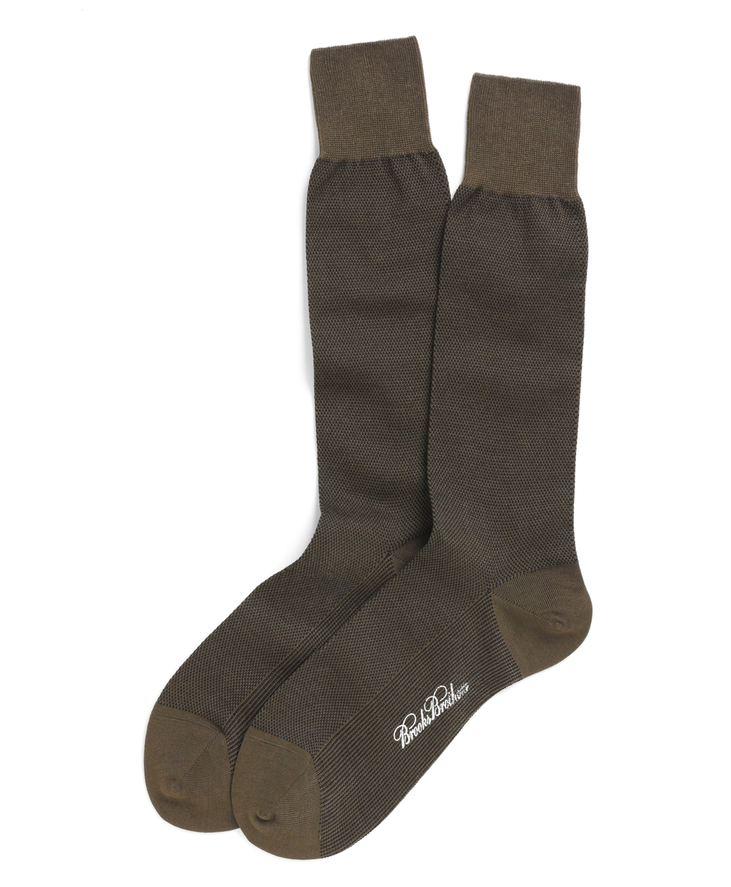 Brooks Brothers Cotton Bird S Eye Crew Socks In Green For