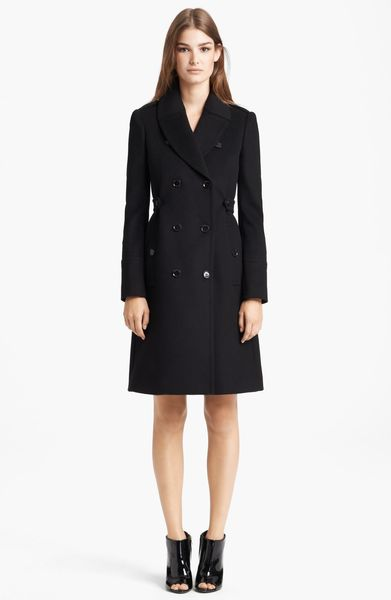 Burberry Pleated Back Wool Cashmere Coat in Black - Lyst