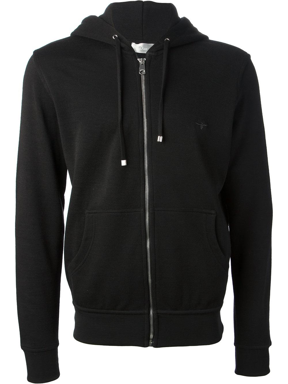 Black Zip Ties >> Dior Zipped Hoodie in Black for Men | Lyst