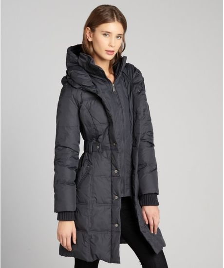 Dkny Down Filled Coat With Inner Bib And Faux Leather Trim