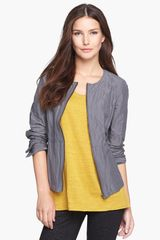 Eileen Fisher Round Neck Zip Front Cotton Blend Jacket - Lyst