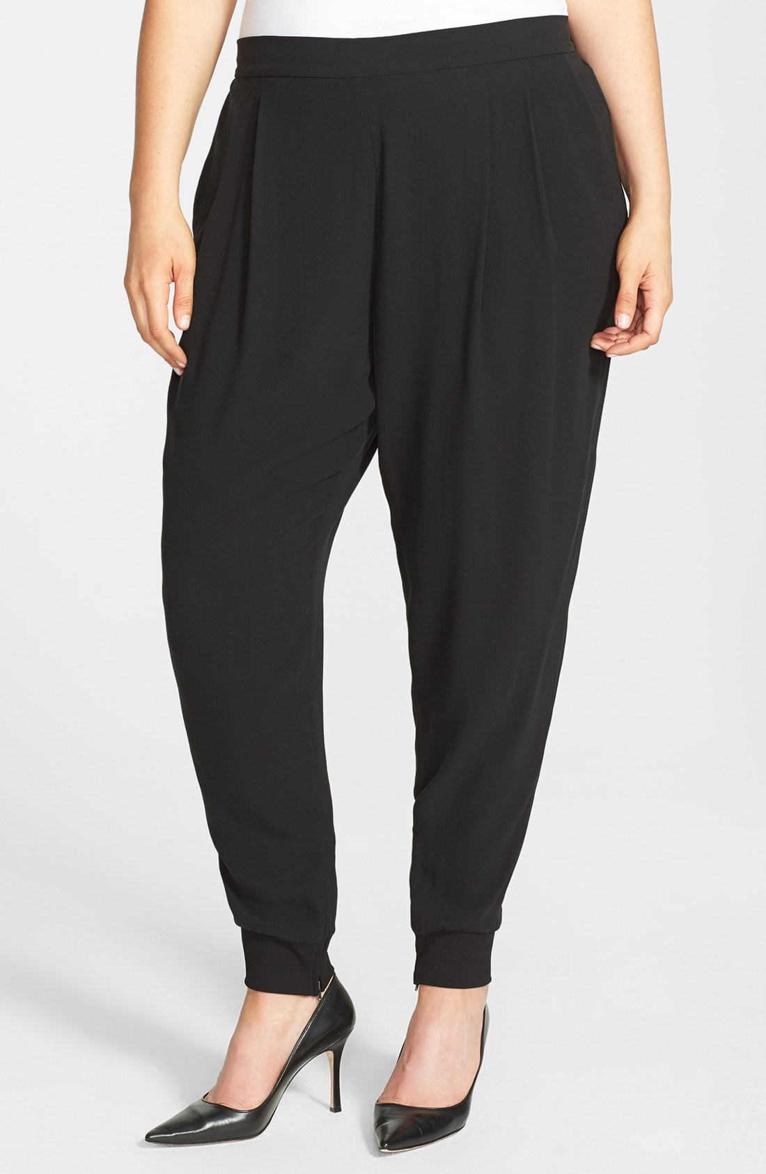 Eileen Fisher NEW Black Silk Georgette Crepe Ankle Pant ...