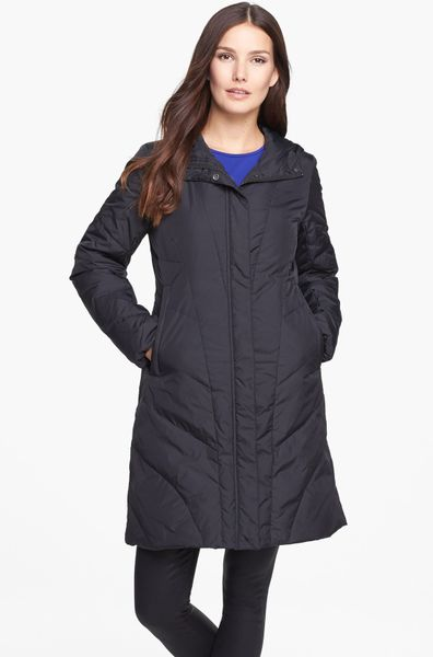 Eileen Fisher Hooded Quilted Down Coat In Black Lyst