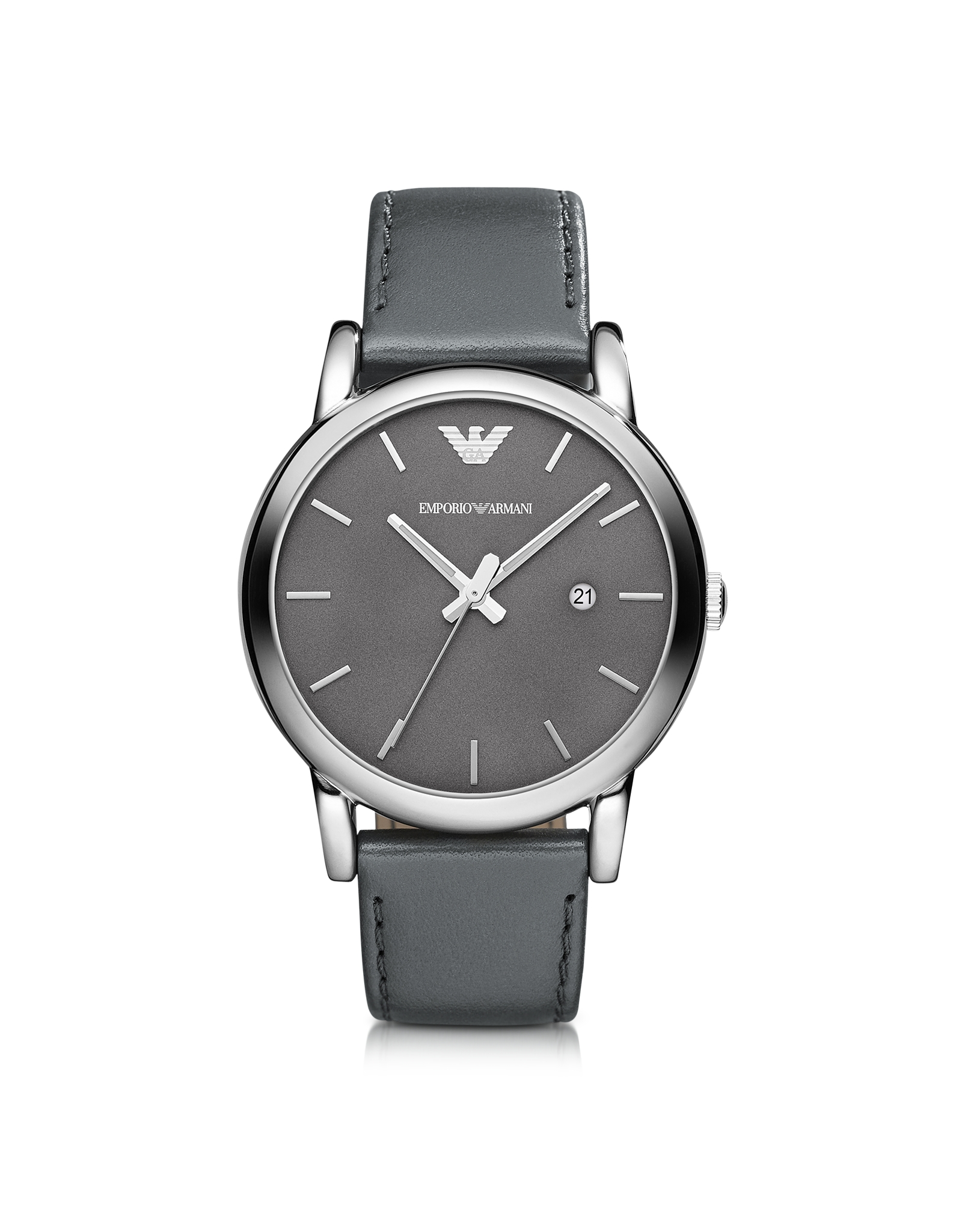 Emporio armani Classic Stainless Steel Wleather Strap Mens ...