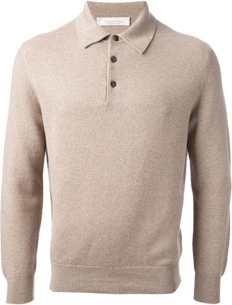 Ermenegildo zegna long sleeve polo shirt in beige for men for Zegna polo shirts sale