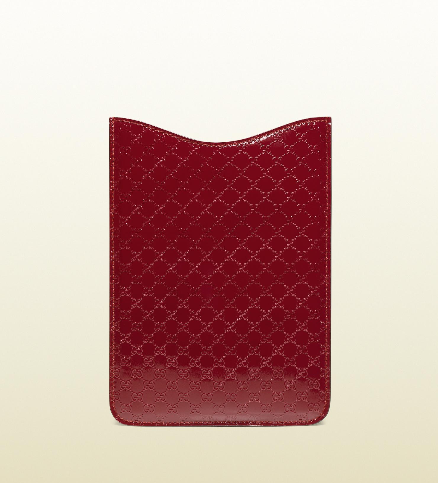 0a3a3801614 Lyst - Gucci Microssima Patent Leather Ipad Mini Case in Red