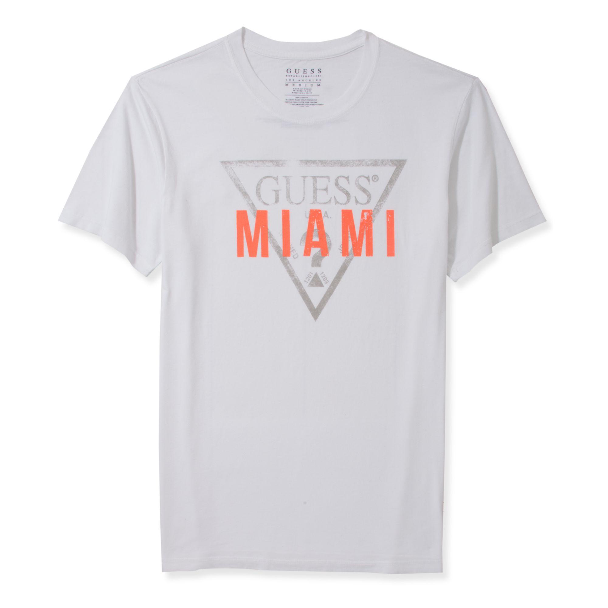 guess shirt destination miami logo tshirt in white for men. Black Bedroom Furniture Sets. Home Design Ideas