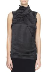 Haider Ackermann Sleeveless Highneck Fold Top - Lyst