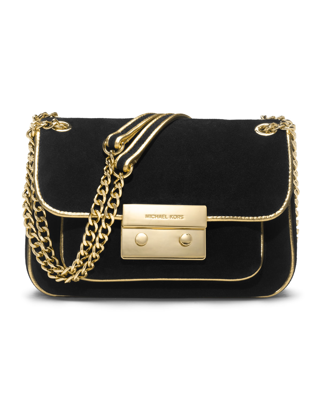 5588865a96 Lyst - MICHAEL Michael Kors Small Sloan Suede Shoulder Flap Bag in Black