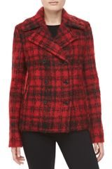 Michael Kors Mohair Plaid Doublebreasted Coat - Lyst