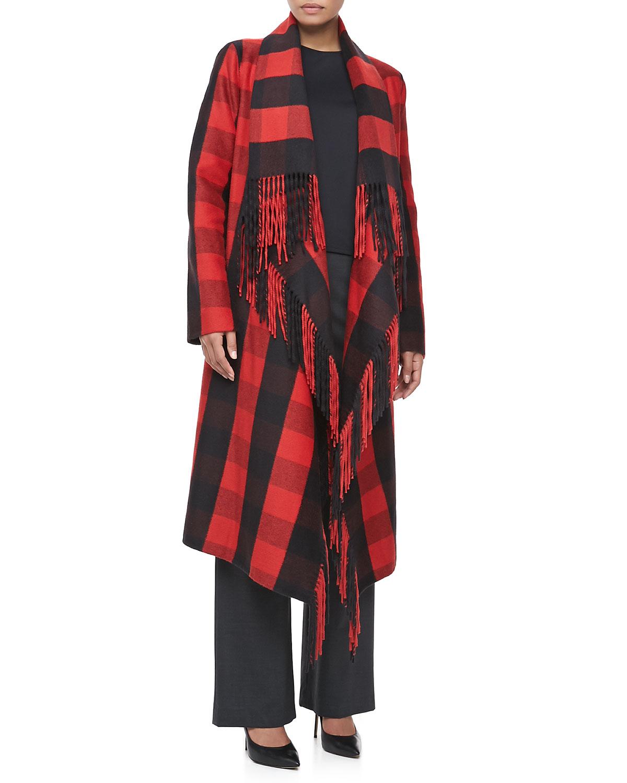 Michael kors Buffalo Plaid Fringetrim Coat in Red   Lyst