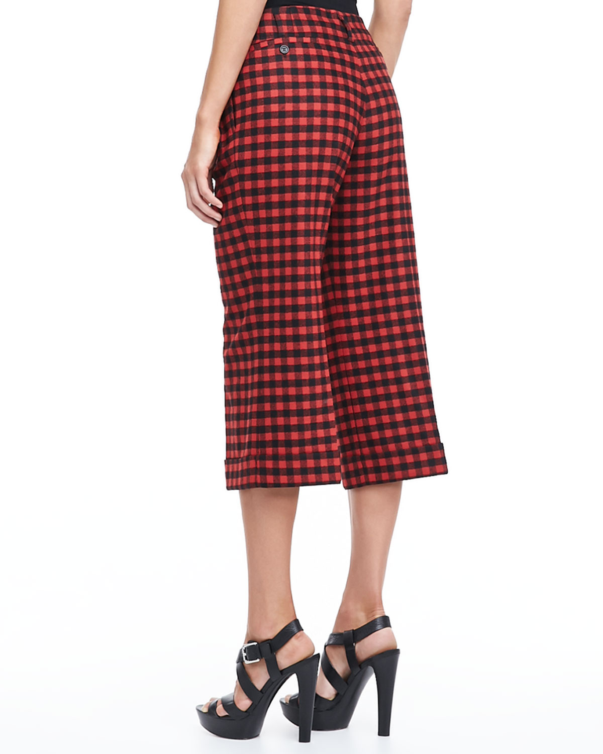 Michael kors Gingham Gaucho Pants in Red | Lyst
