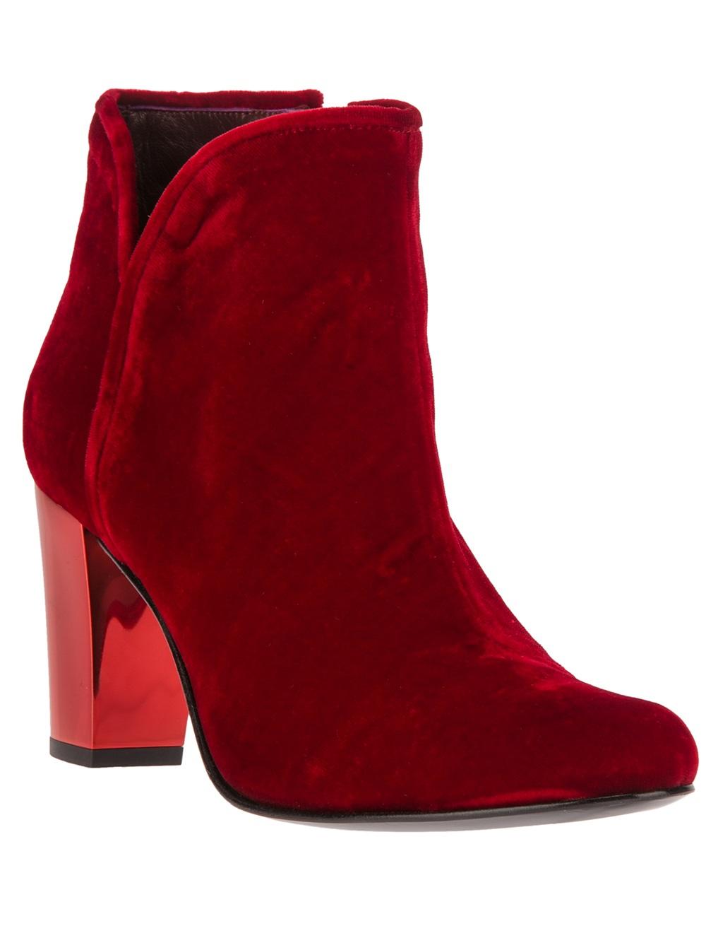 Opening Ceremony Velvet Ankle Boot In Red Lyst