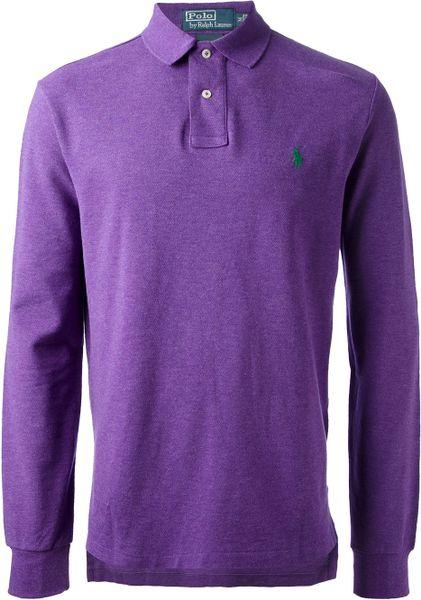 Polo ralph lauren long sleeve polo shirt in purple for men for Long sleeve purple polo shirt