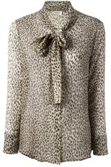 Saint Laurent Animal Print Blouse - Lyst
