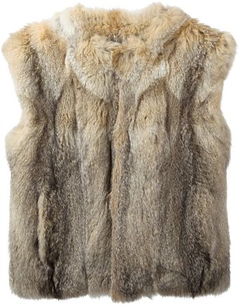 Saint Laurent Fur Gilet - Lyst