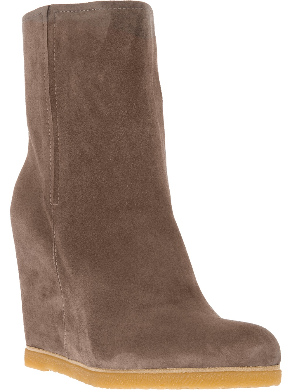 stuart weitzman scout wedge boot in brown grey lyst