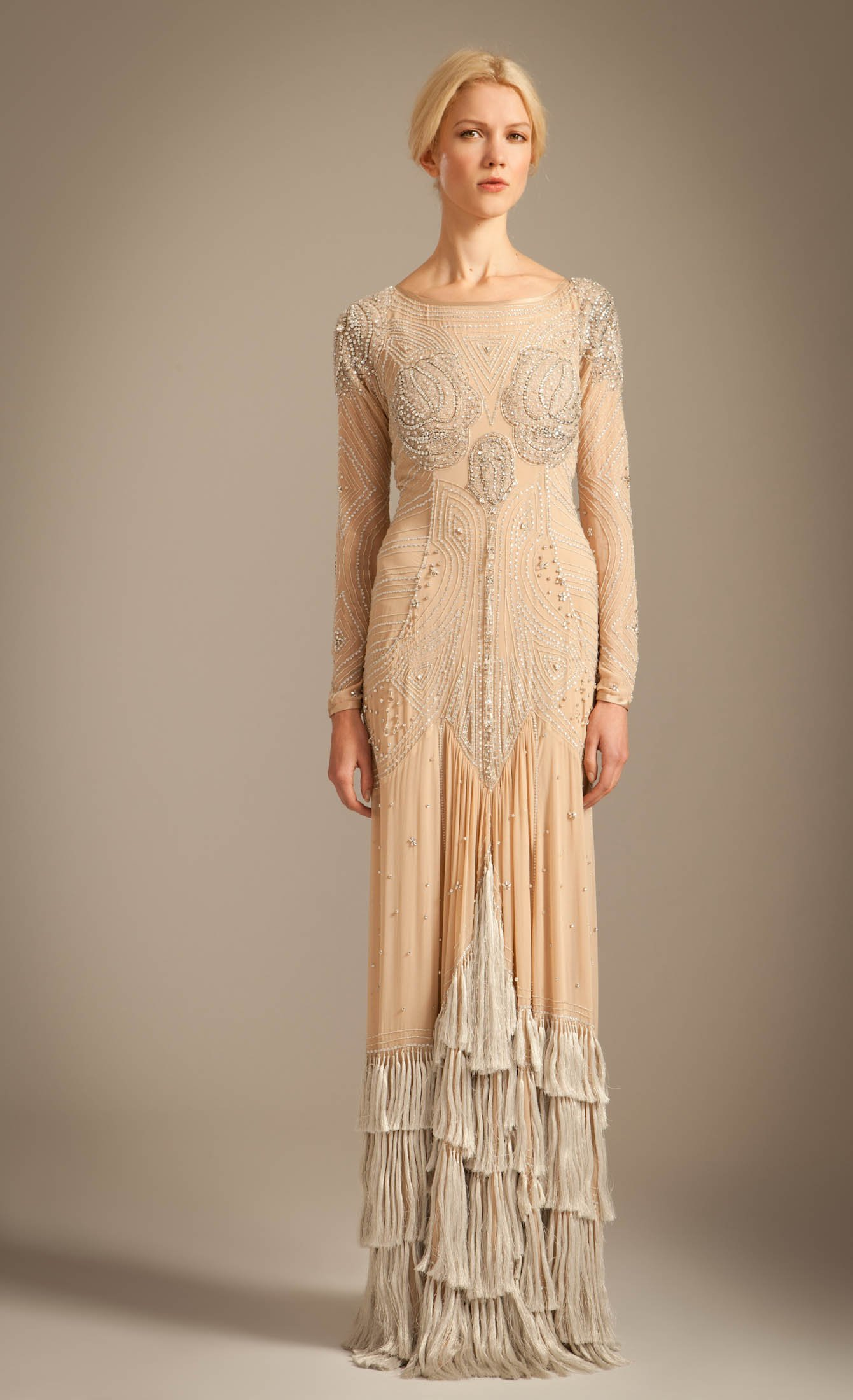 Lyst - Temperley London Long Silvia Tattoo Dress in Natural