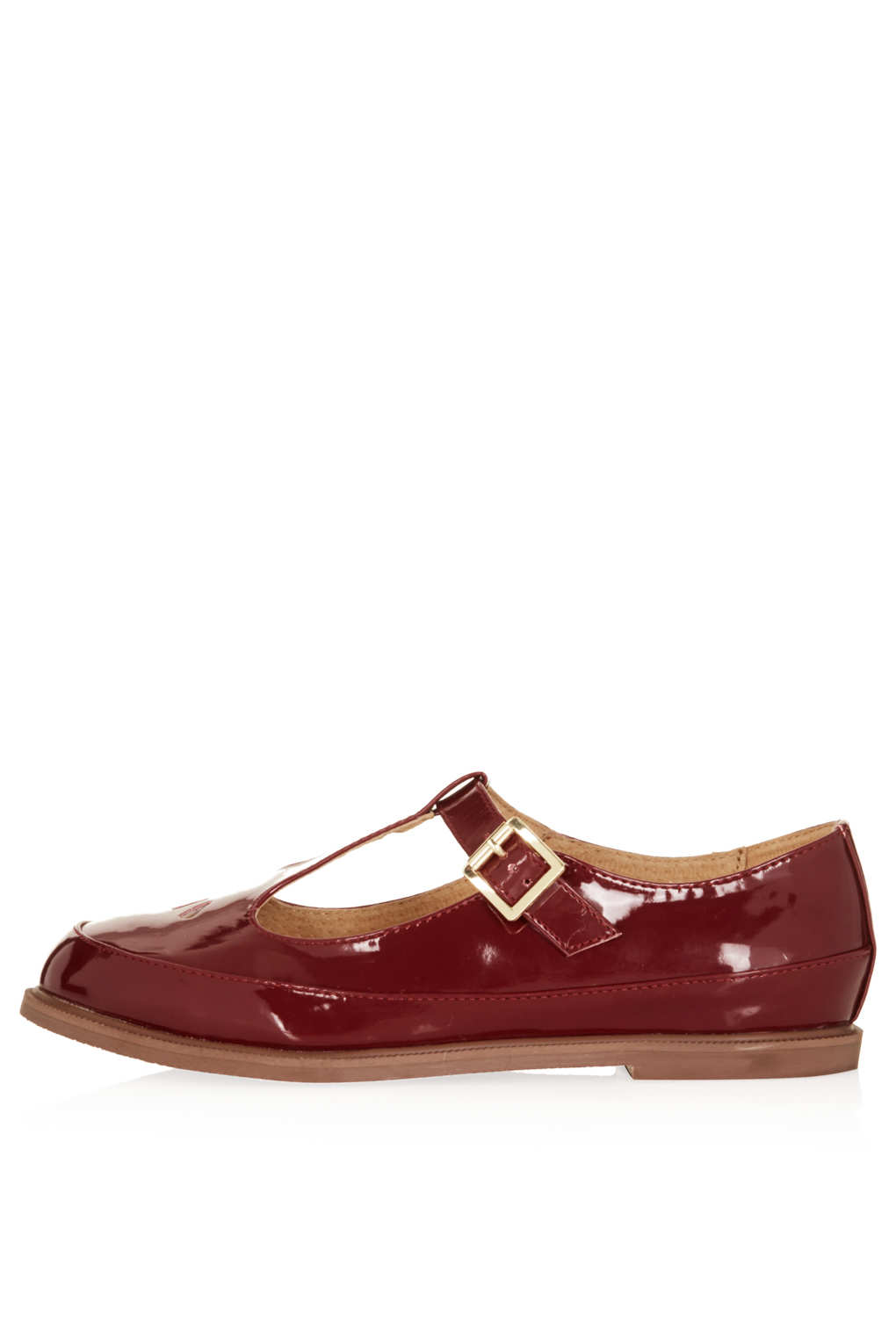 Lyst Topshop Martie Leather T Bar Geek Shoes In Brown