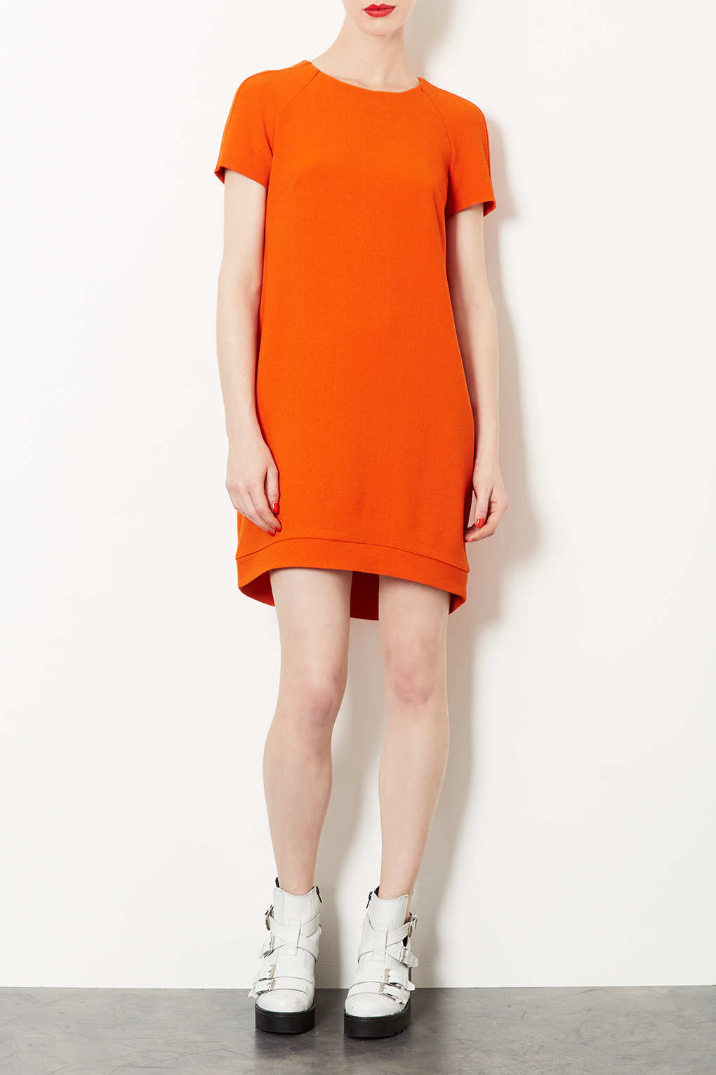 lyst topshop crepe tee shift dress in orange. Black Bedroom Furniture Sets. Home Design Ideas