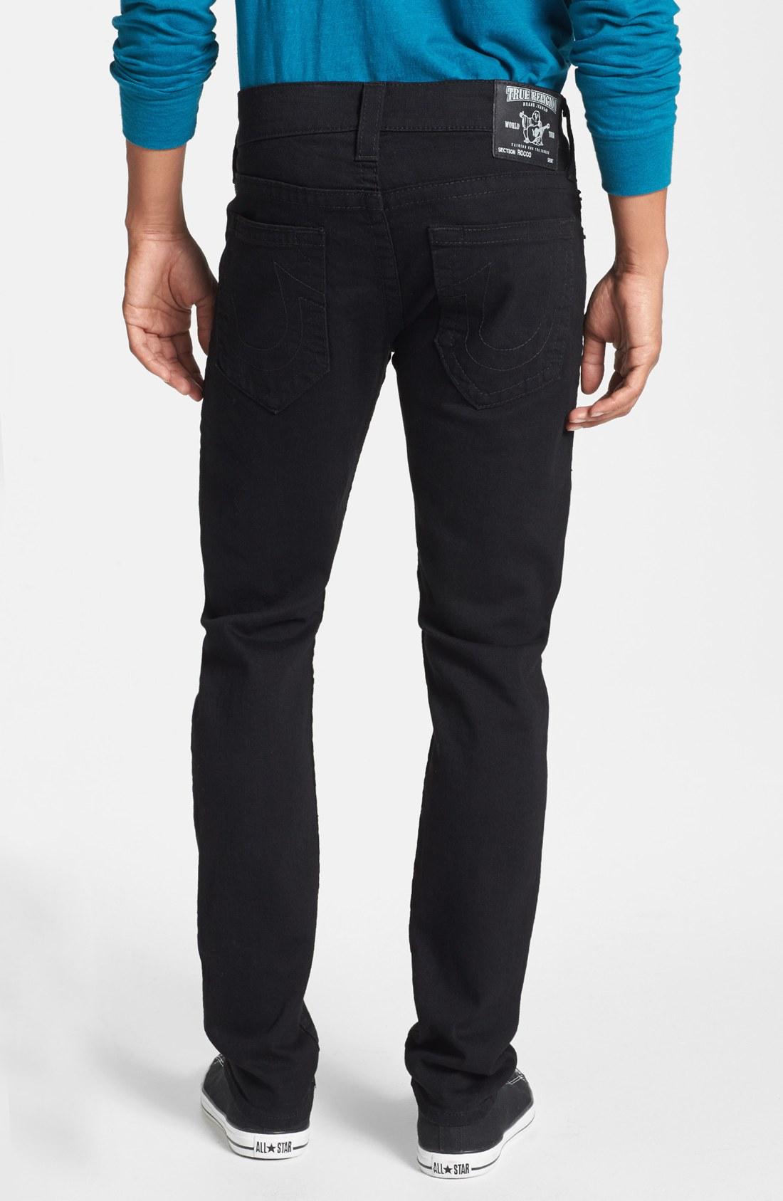 true religion rocco skinny fit jeans in black for men. Black Bedroom Furniture Sets. Home Design Ideas
