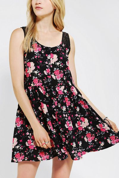 Urban Outfitters Floral Tank Dress In Purple Black Lyst