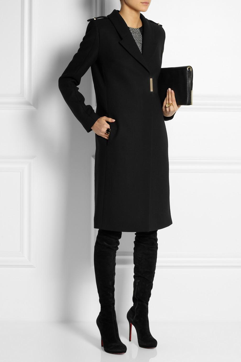 Lyst Victoria Beckham Wool Coat In Black