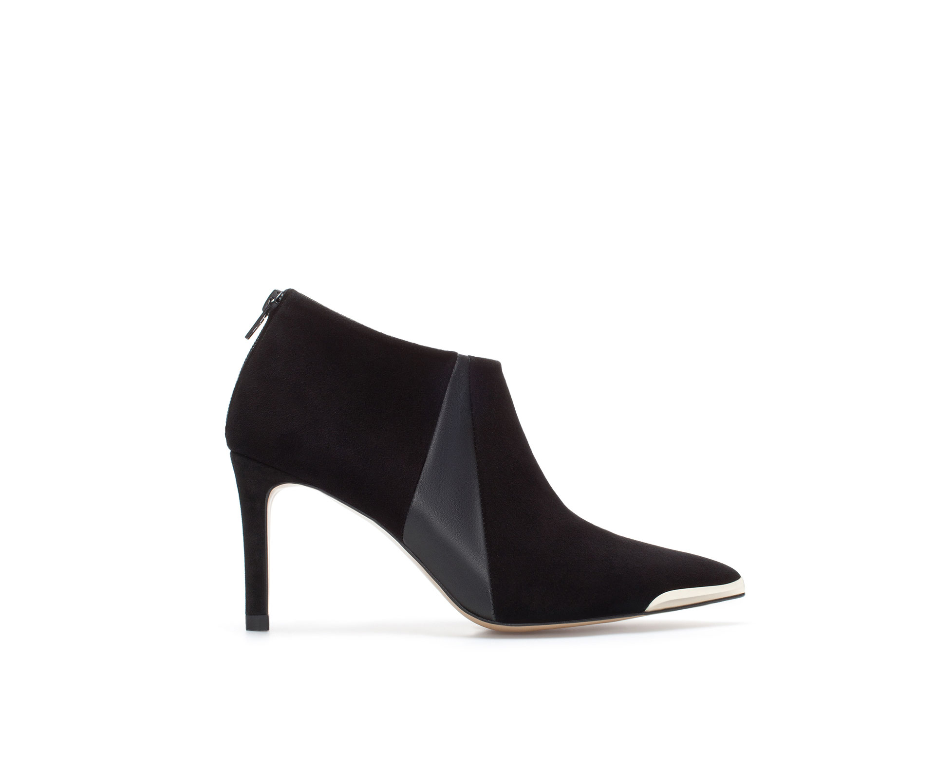 zara suede pointed ankle boot in black lyst