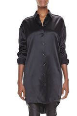 Acne Longsleeve Collared Satin Tunic Black - Lyst