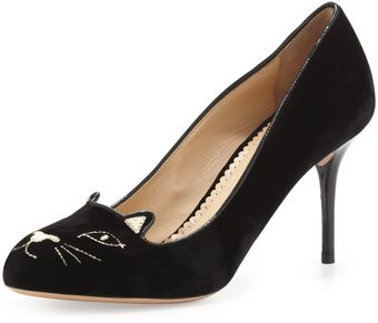 Charlotte Olympia Kitty Catembroidered Velvet Pump Black - Lyst
