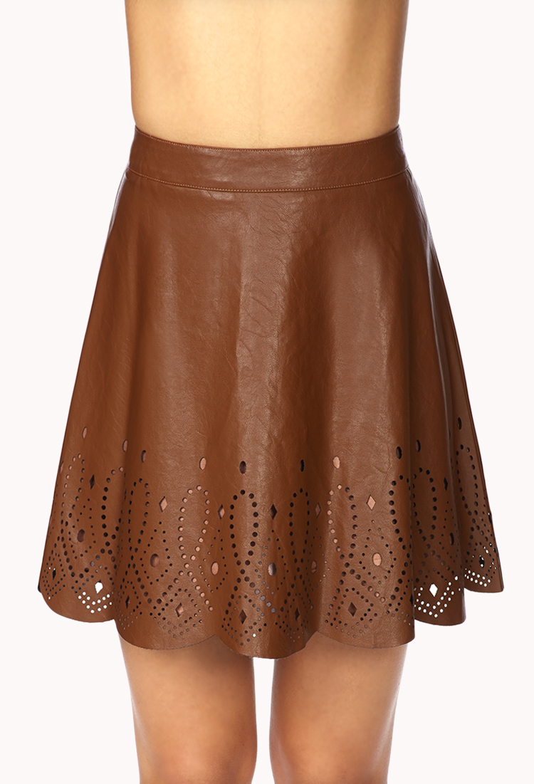 Forever 21 Perforated A-line Skirt in Brown