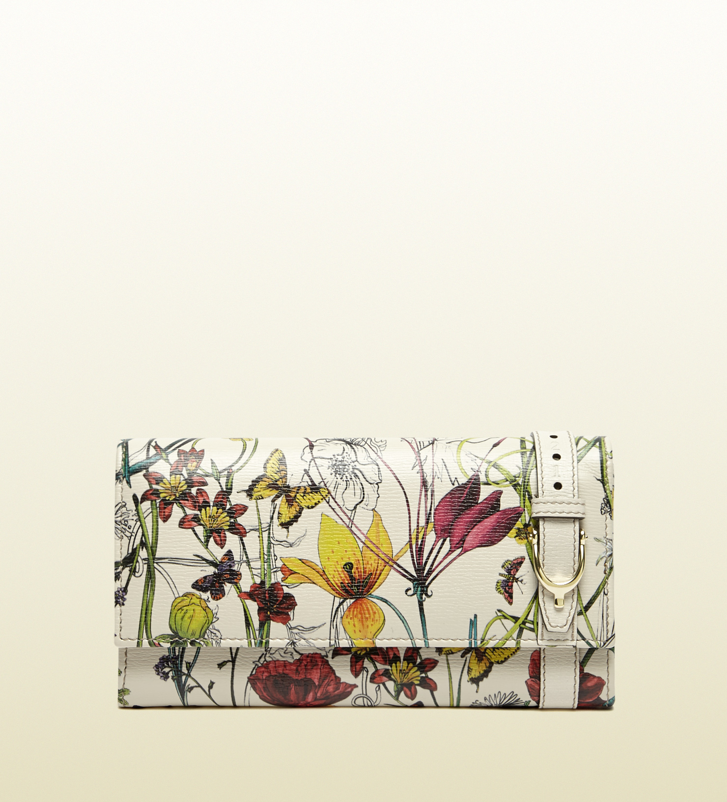 70bc0c4ecdf Gucci Nice Flora Leather Continental Wallet in White - Lyst