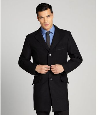 Joseph Abboud Black Wool Blend Notched Lapel Single Breasted Empire Topcoat - Lyst