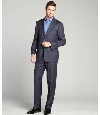 Joseph Abboud Navy Wool Pin Dot Twobutton Suit with Flat Front Pants - Lyst