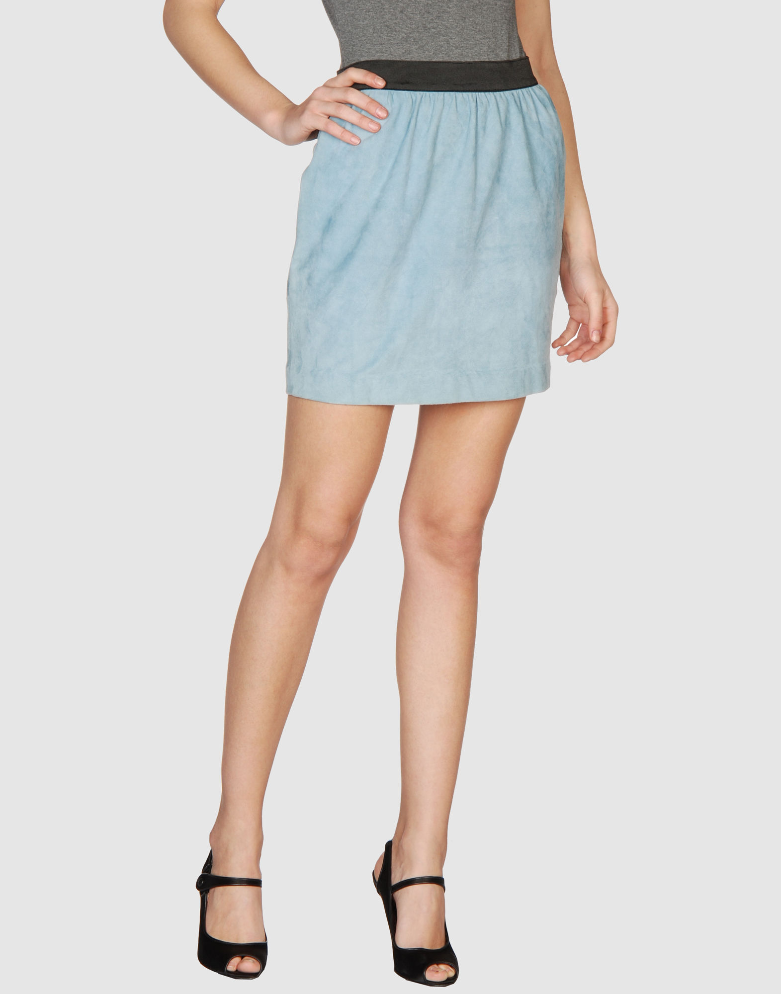 3 1 phillip lim leather skirt in blue azure save 38