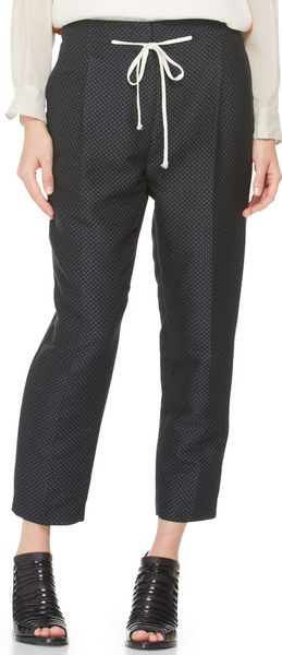 3.1 Phillip Lim Pleated Peg Pants with Drawstring Blackoatmeal - Lyst