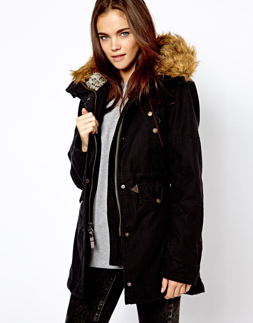 asos alpha industries fishtail parka with faux fur lined hood in black. Black Bedroom Furniture Sets. Home Design Ideas