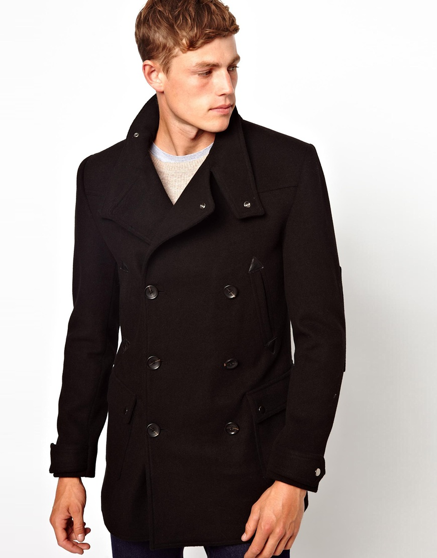 Asos Wool Jacket With Funnel Neck In Black in Black | Lyst